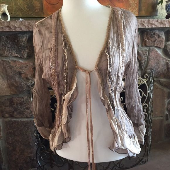 Sheer fancy jacket Another boutique store find! Beautifully detailed jacket  in creamy taupes with lace f0cdccd6a0