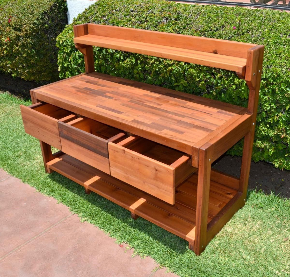 Elis Potting Bench Options Old Growth Redwood Casters 2