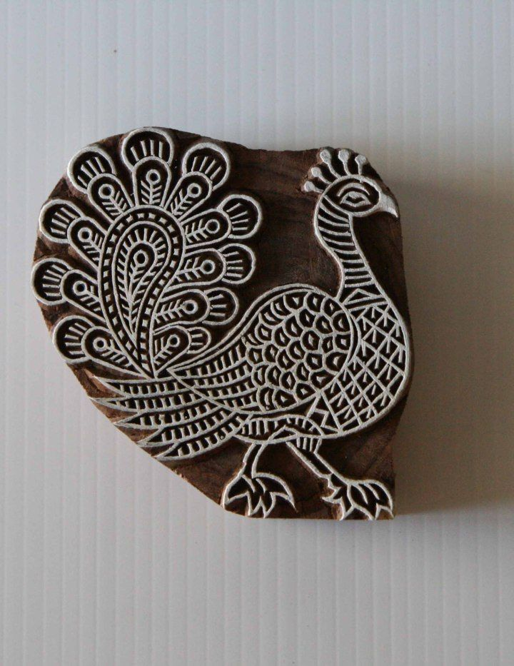 Peacock Stamp Indian Hand Carved Wood Block Printing Stamp
