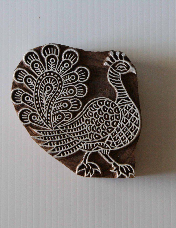 Peacock Stamp Indian Hand Carved Wood Block Printing Stamp