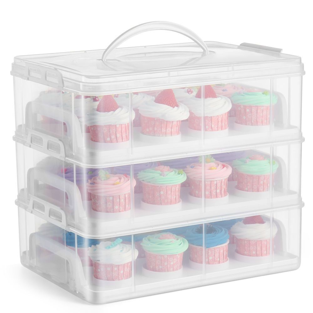 36 Cupcake Carrier Cupcake Carrier Holder Container Box Clear Plastic Storage Basket