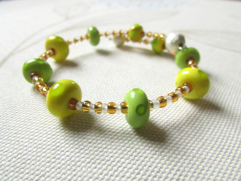 Bright bead glass bracelet handmade glass beads green yellow