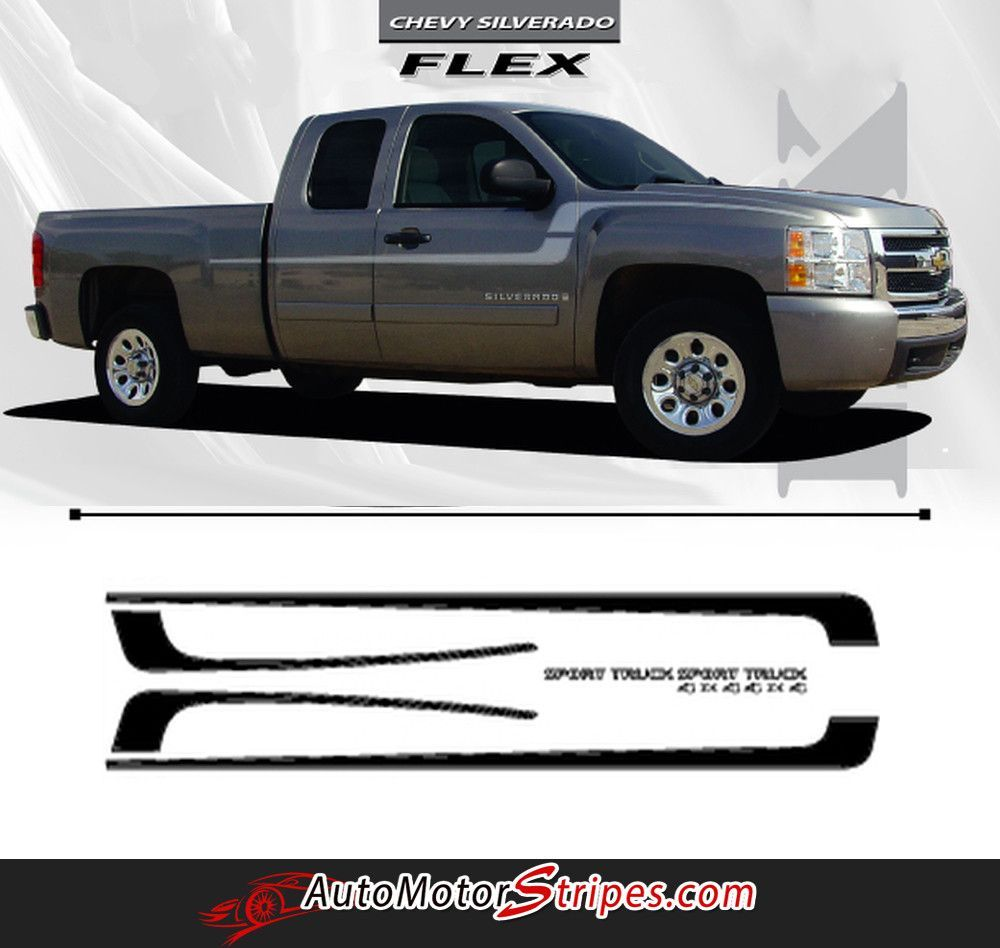 Vehicle specific style chevy silverado truck flex side fender door vinyl graphic stripe decals year fitment 2007 2008 2009 2010 2011 2012 2013 2014 2015