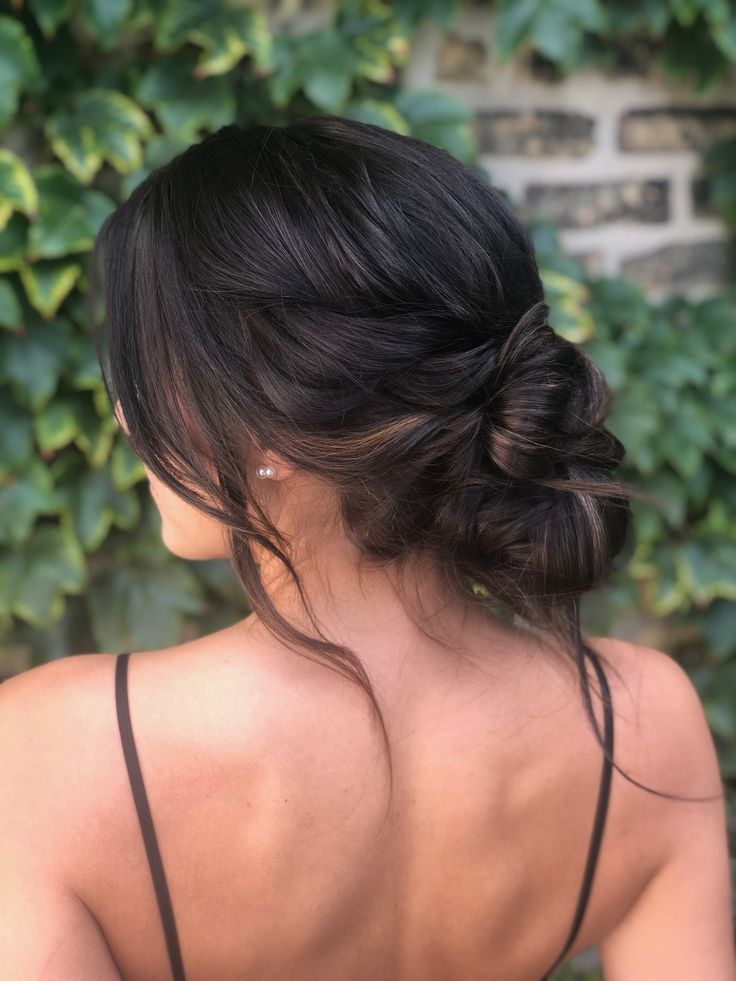 Pair This Dreamy Messy Updo With A Low Back Or Backless Dress For The Perfect Romantic Prom Look Hairstyle By Hair Styles Bridesmaid Hair Long Bun Hairstyles
