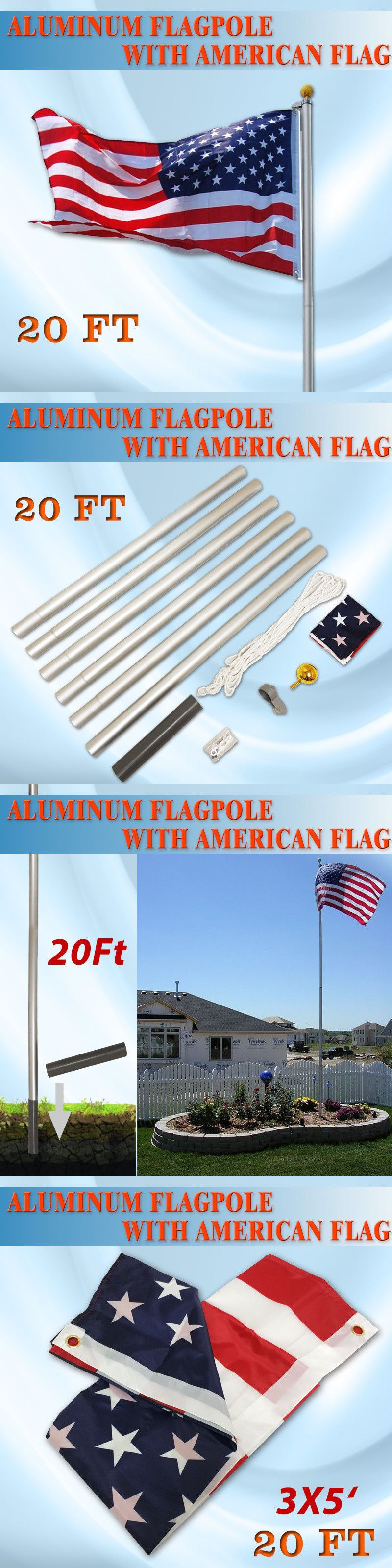 Flag Poles And Parts 43536 20ft Aluminum Sectional Flag Pole Kit Outdoor Gold Ball Us Flag Buy It Now Only 33 99 On Ebay Flag Pole Kits Flag Pole Flag