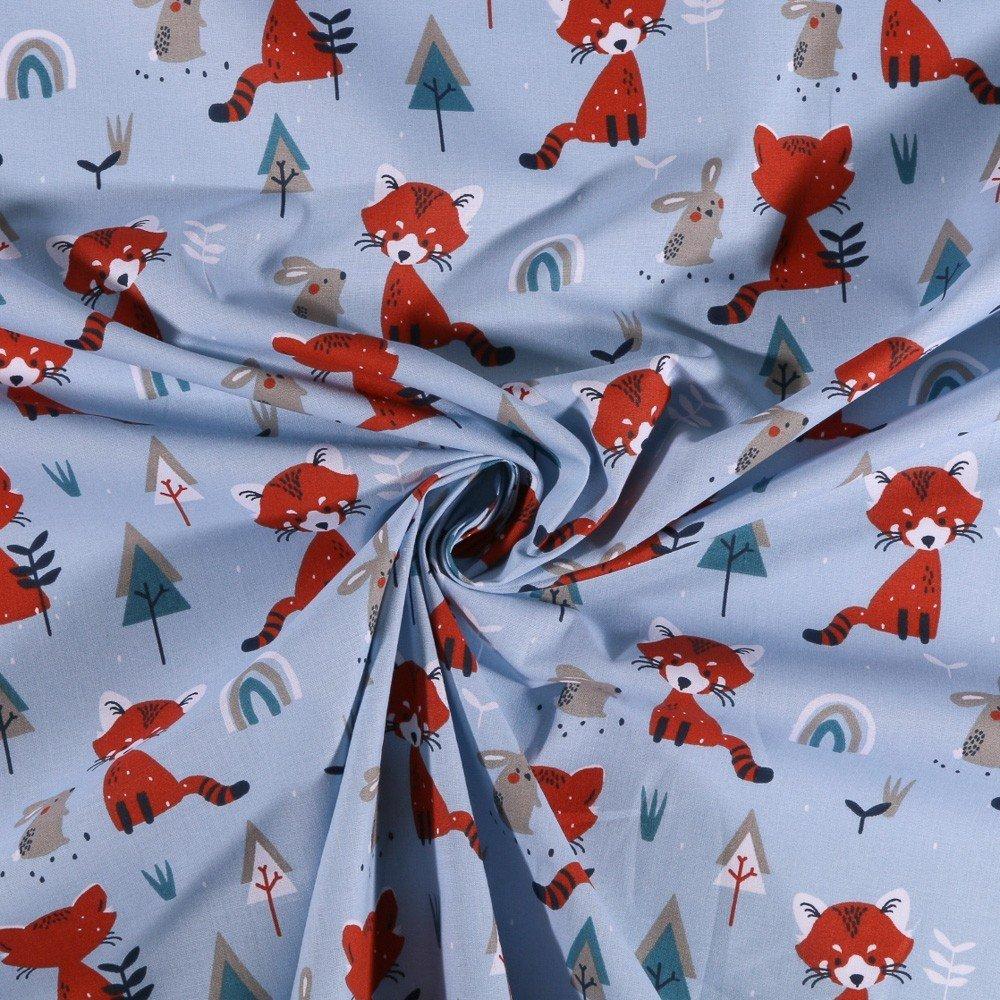 Tissu Coton imprimé Arty Renard et lapins en forêt sur fond Bleu - Par 10 cm