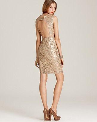 BCBGMAXAZRIA Sequin Dress with open back