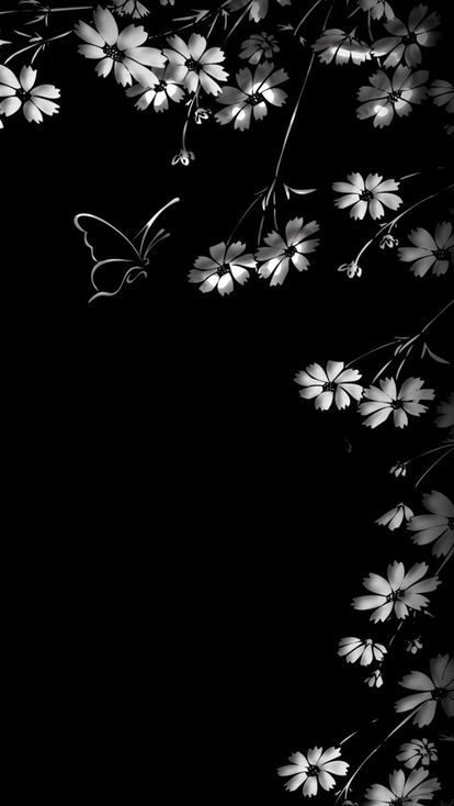 花と蝶 白と黒のかっこいいスマホ壁紙 イラストその他 En 2019