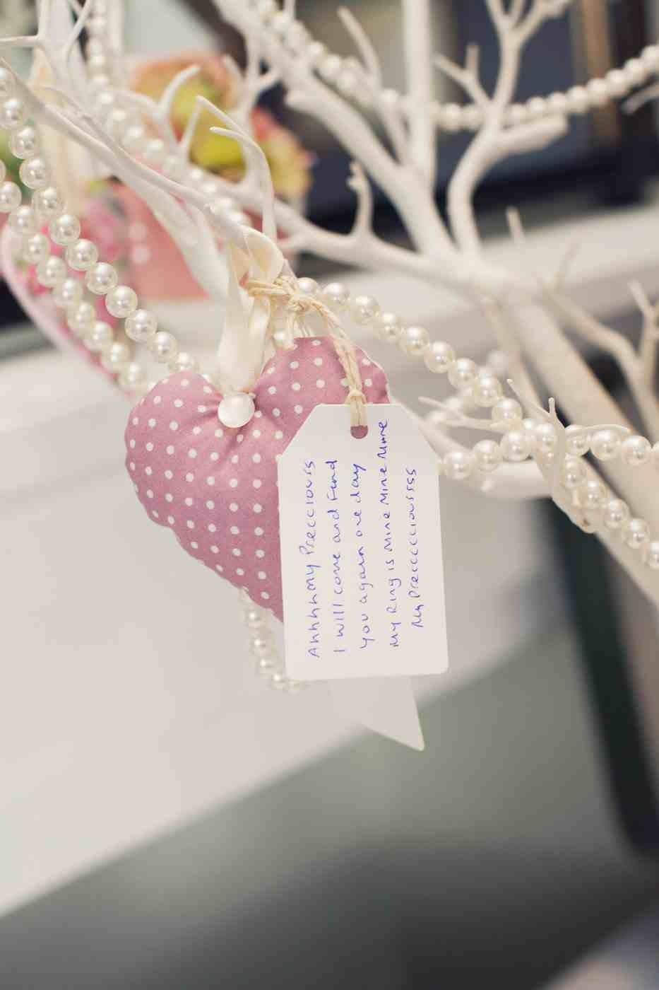 Wedding wish tree, white Manzanita, Handmade/homemade fabric heart ...