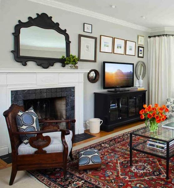 Transitional Living Room With Custom Textiles, Iron Mirror
