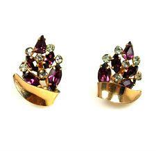 Art Deco Phyllis Purple Rhinestone Screw Back Earrings 1/20 12K GF