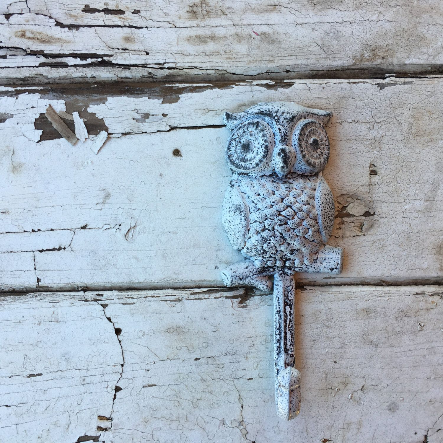 Owl Hook, White Washed Shabby Chic Towel Hooks Of Great
