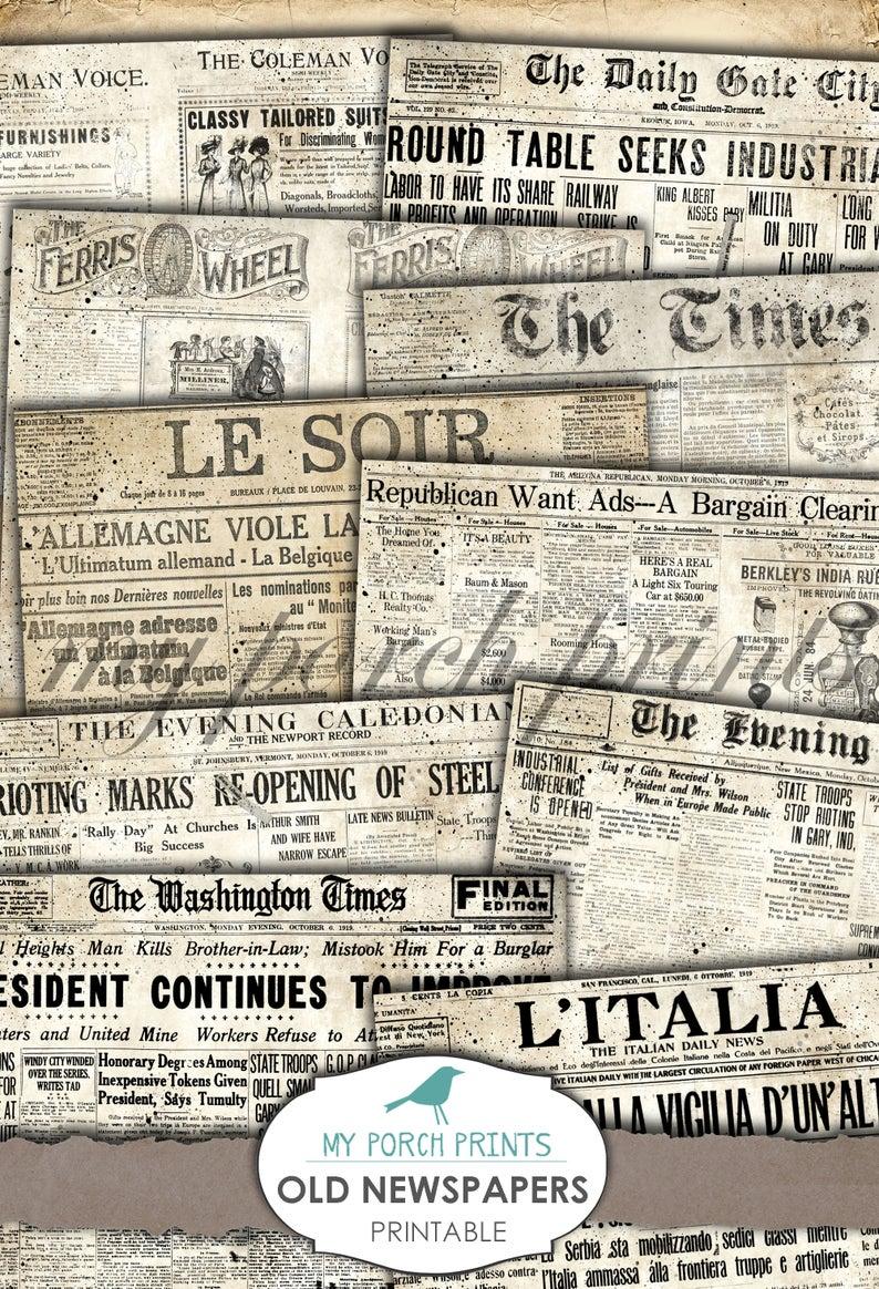 Old Newspapers Printable Paper Newsprint Junk Journal Etsy Old Newspaper Junk Journal Printable Paper