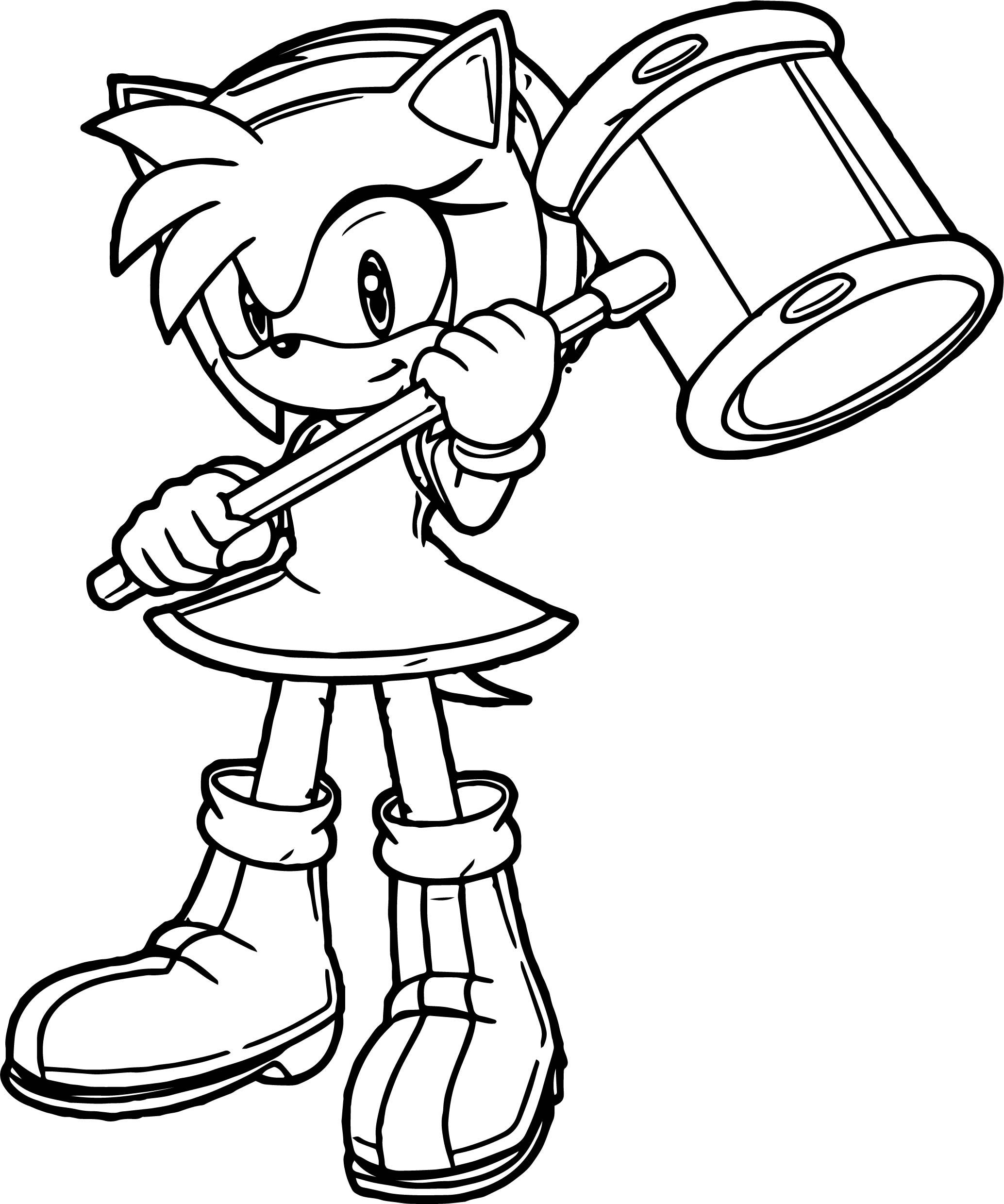 Nice Cute Amy Rose Hammer Coloring Page Amy Rose Coloring Pages Cartoon Coloring Pages