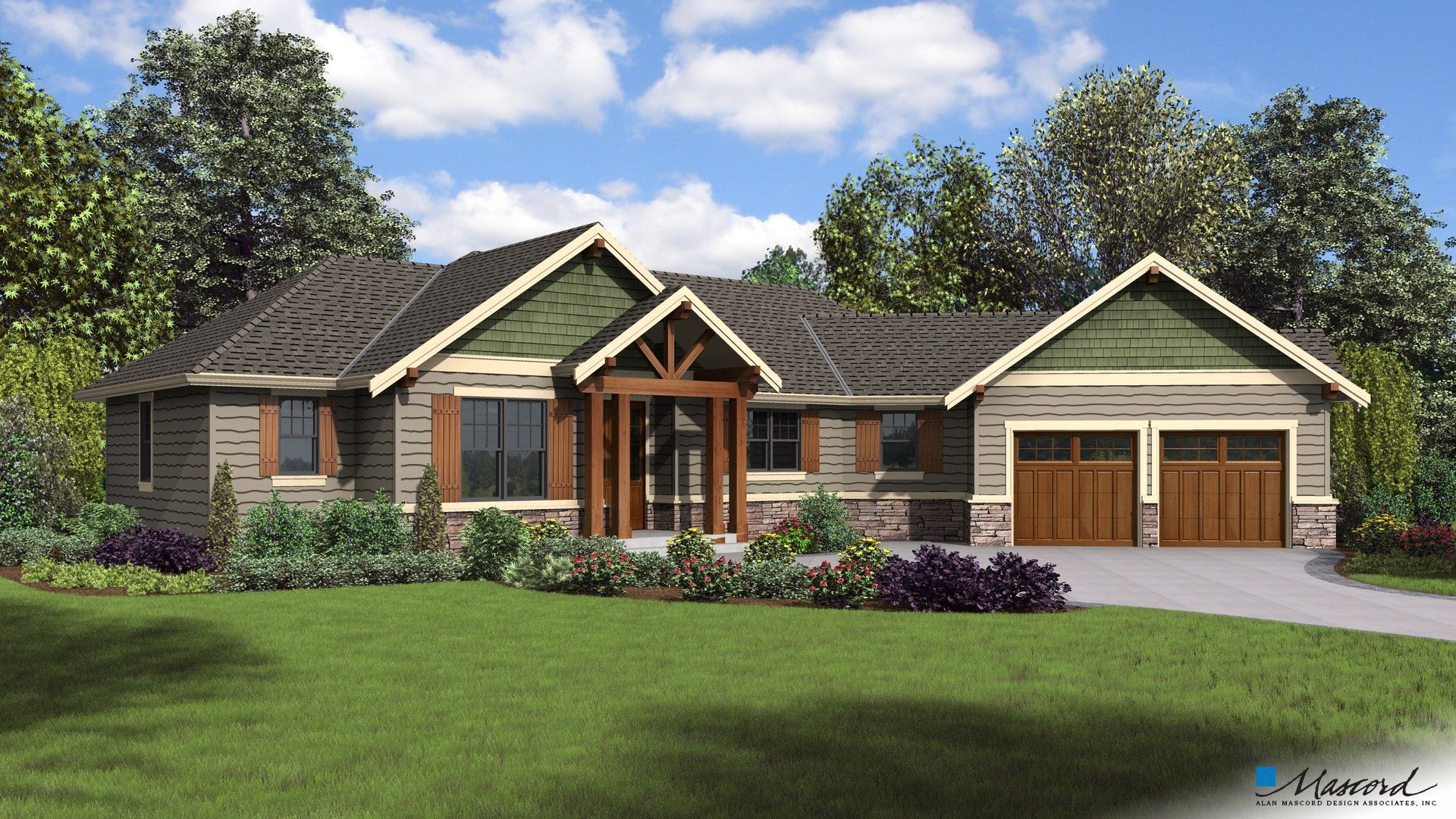 Mascord House Plan 1177 The Artemis Craftsman Style House Plans House Plans Ranch House Plans