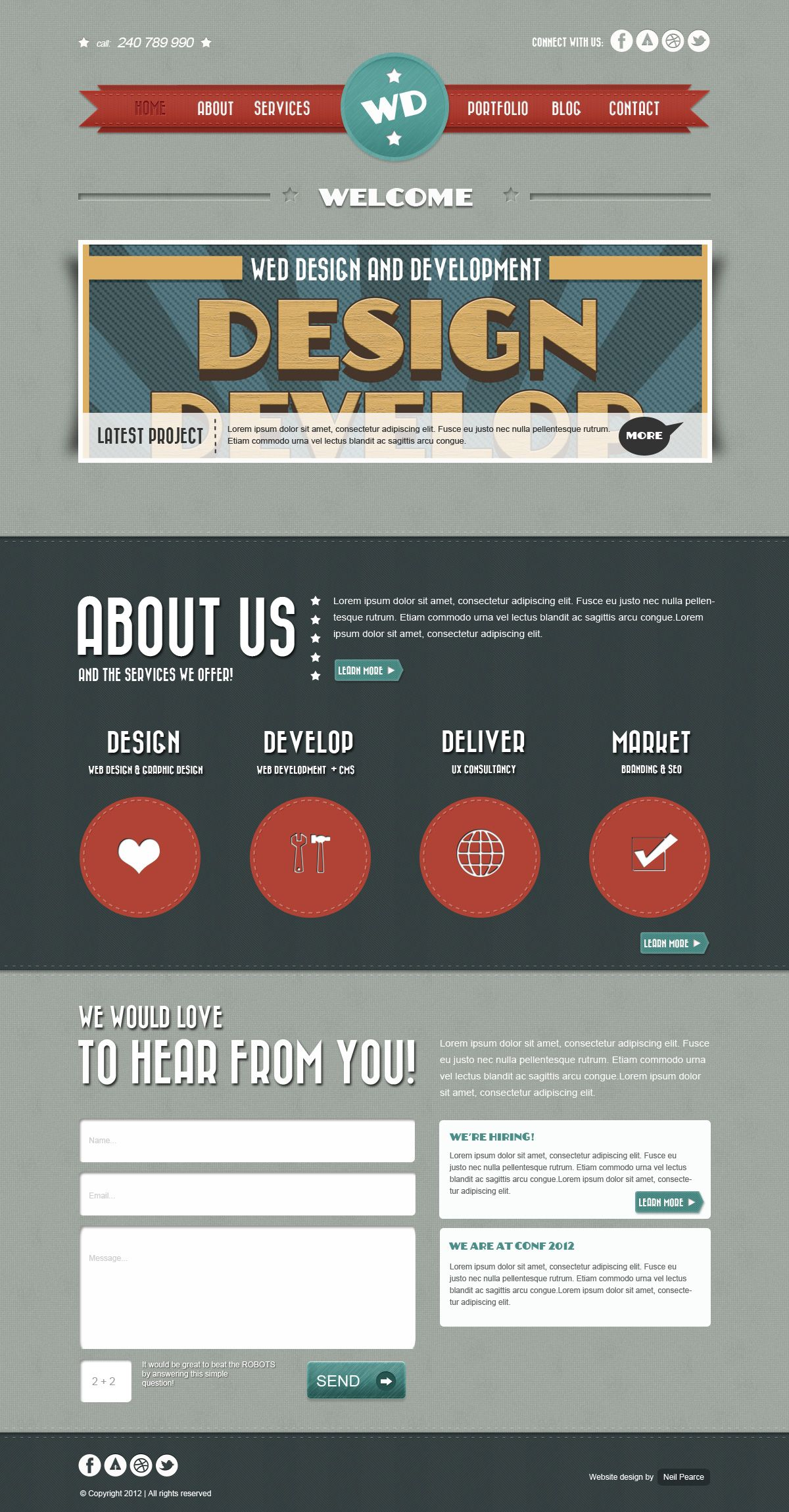 Retro Website Layout Free PSD | Free PSD Templates | Pinterest ...