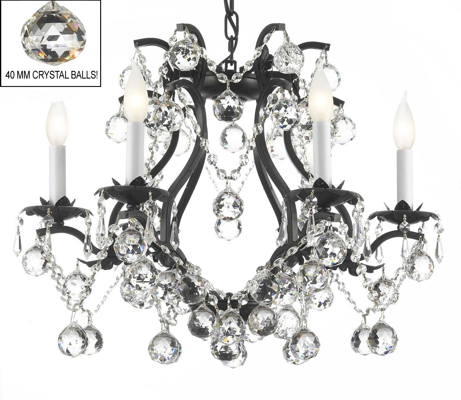 Black Wrought Iron Crystal Chandelier Lighting H 19 W 20