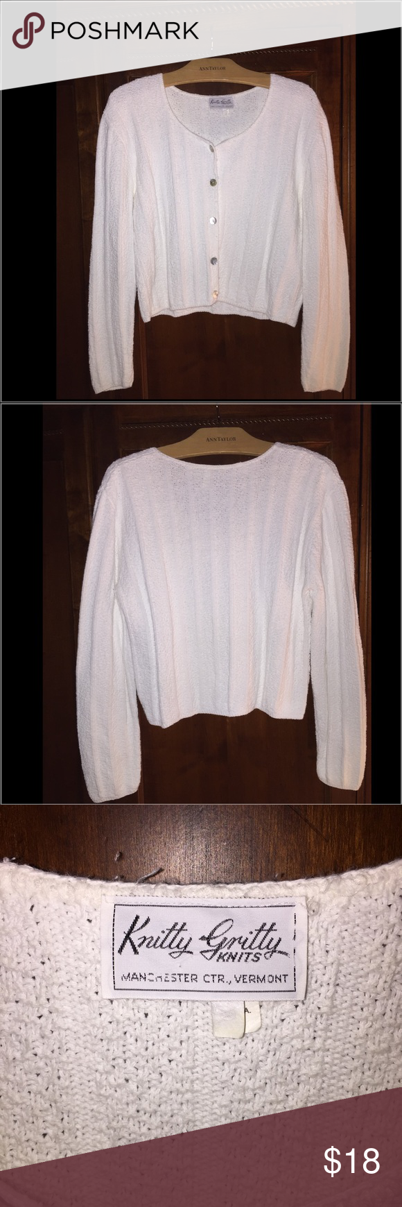 Knotty Gritty sweater❤️ Beautiful 100💯cotton very white button down in great shape. Very gently worn a few times. Knitty Gritty Vermont Sweaters Cardigans