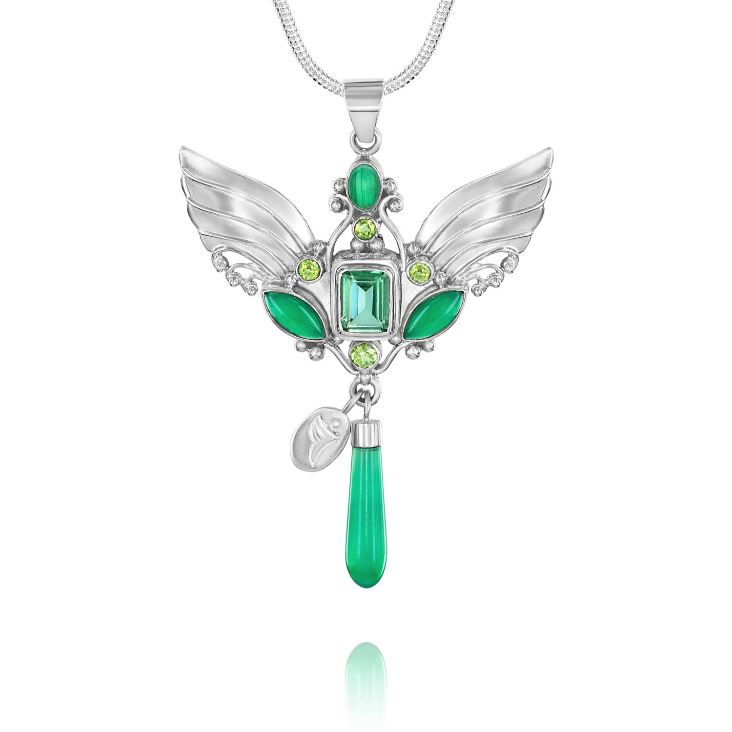 Sterling silver angel wings necklace with 7 healing gemstones of archangel raphael the healer with 5 glorious healing gemstones ambassador for the healing arts supporting healing on all levels buycottarizona Images