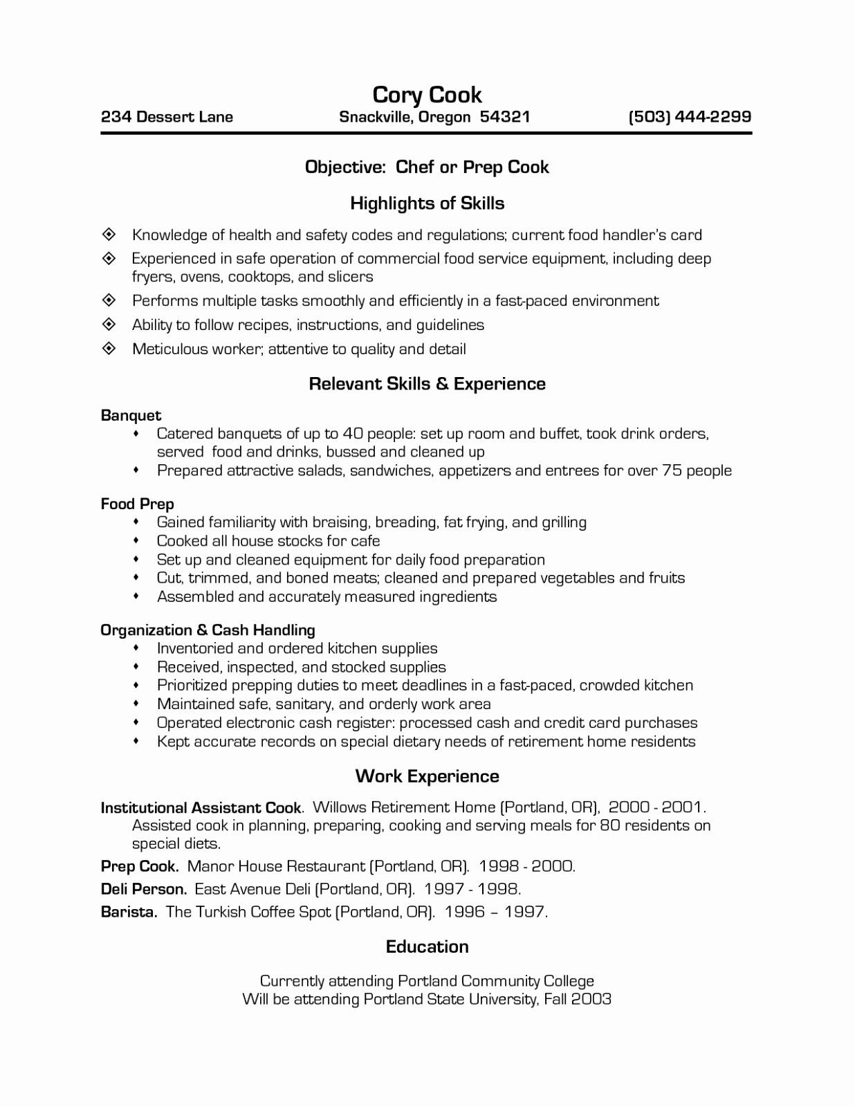23 Line Cook Resume Examples In 2020 Chef Resume Resume