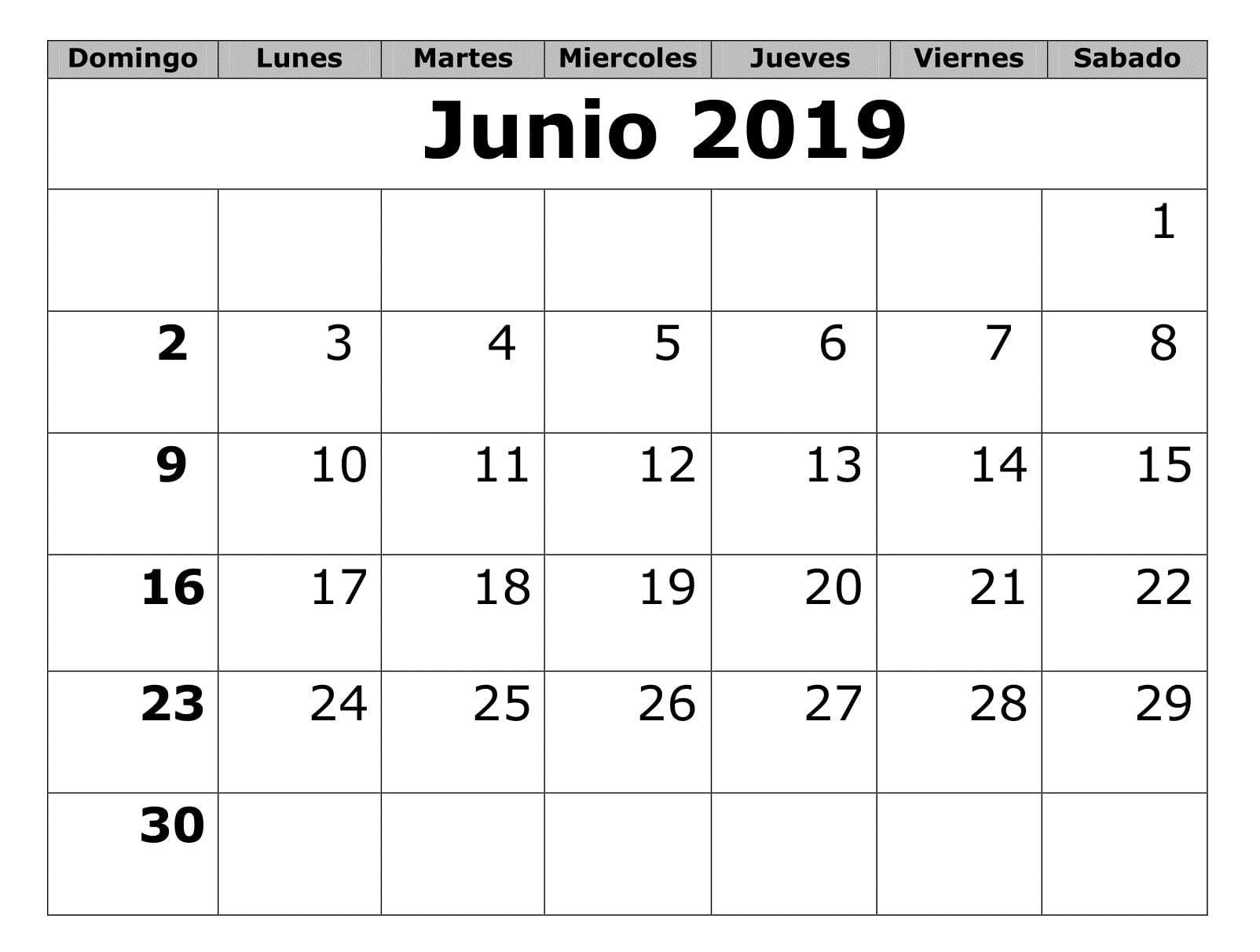Calendario Mes Junio 2019.Top 10 Punto Medio Noticias Calendario Junio 2019 Para Imprimir