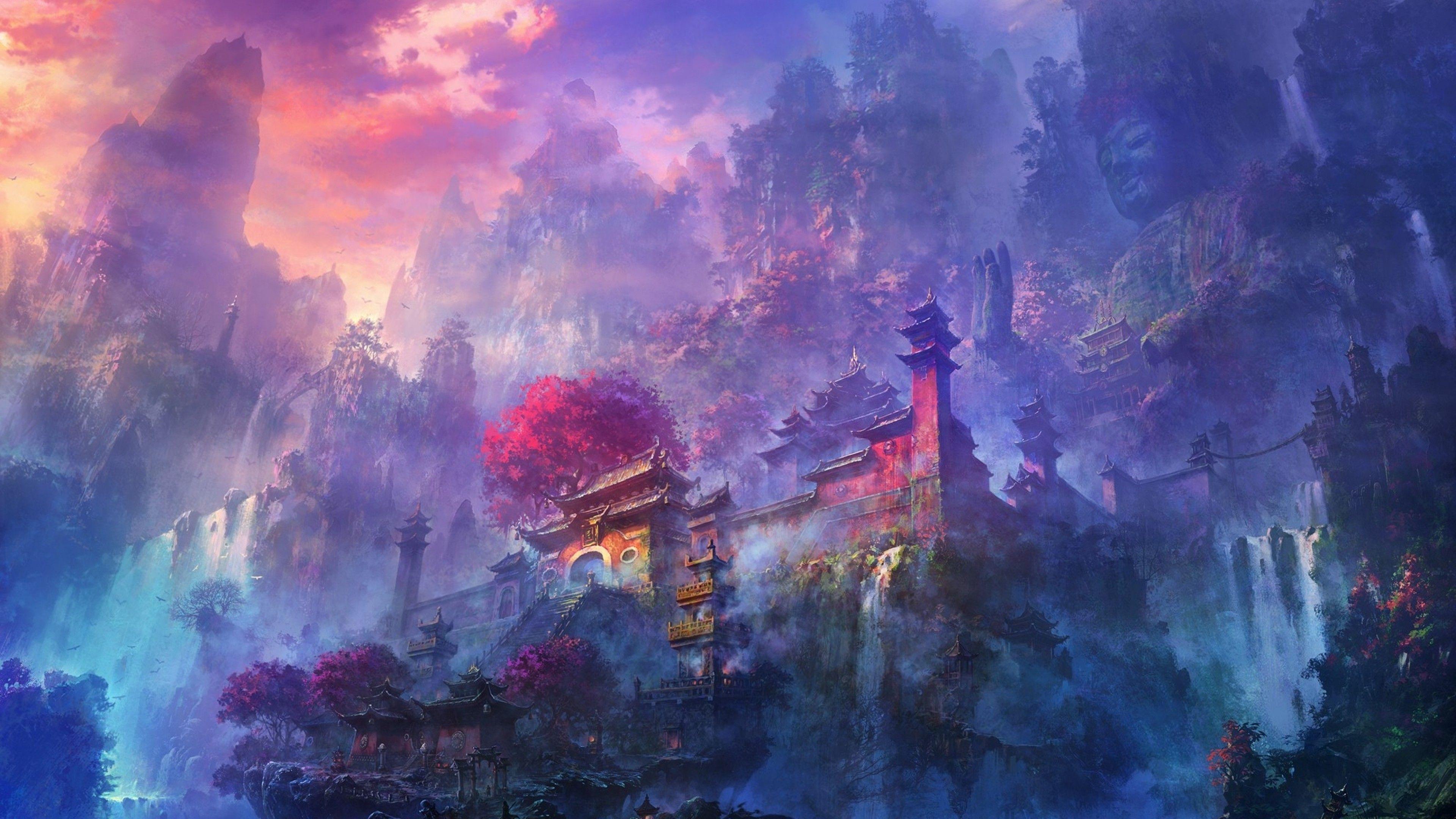 Shaolin Temple By Shuxing Li 3840 X 2160 Anime Scenery Wallpaper Anime Scenery Anime Wallpaper 1920x1080