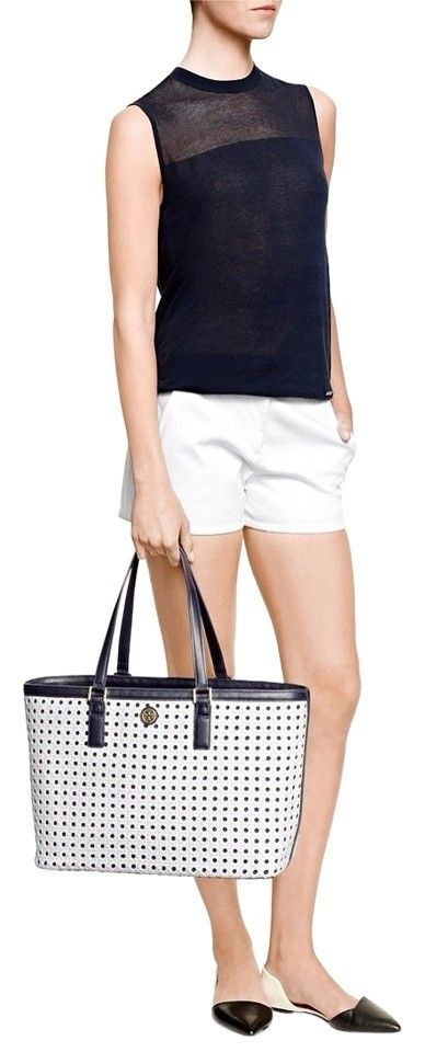 220ce6018e7 Tory Burch New Tags! Robinson Basket Weave Leather Large Laptop Computer  Purse! White   Navy Blue Tote Bag. Get one of the hottest styles of the  season!