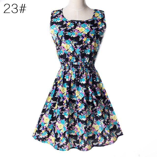 Woman beach dress summer boho print clothes sleeveless party dress casual short sundress plus size floral dress s092 #shortsundress