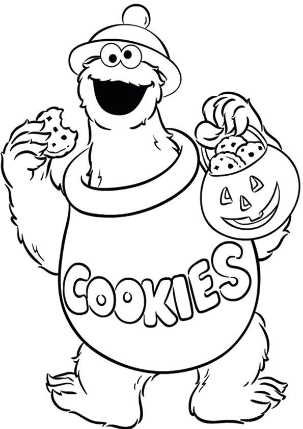 Cookie Monster Coloring Elmo Desenho Monstro Das Bolachas