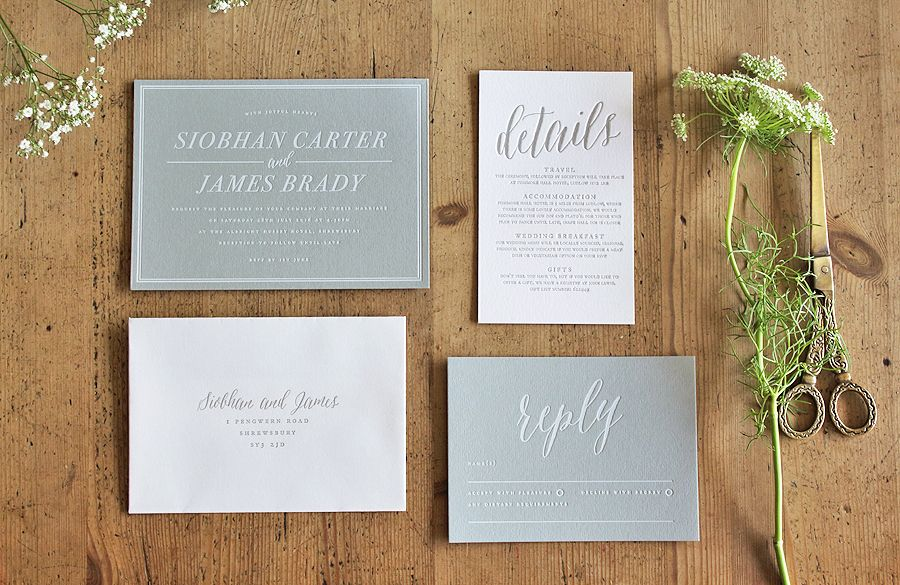Letterpress and hot foil wedding invitation and stationery by ...