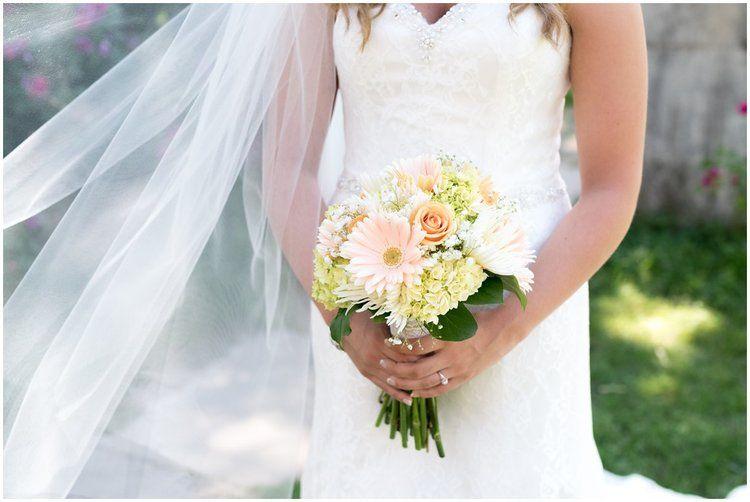 Landis Valley Museum summer outdoor wedding. Bridal floral details ...