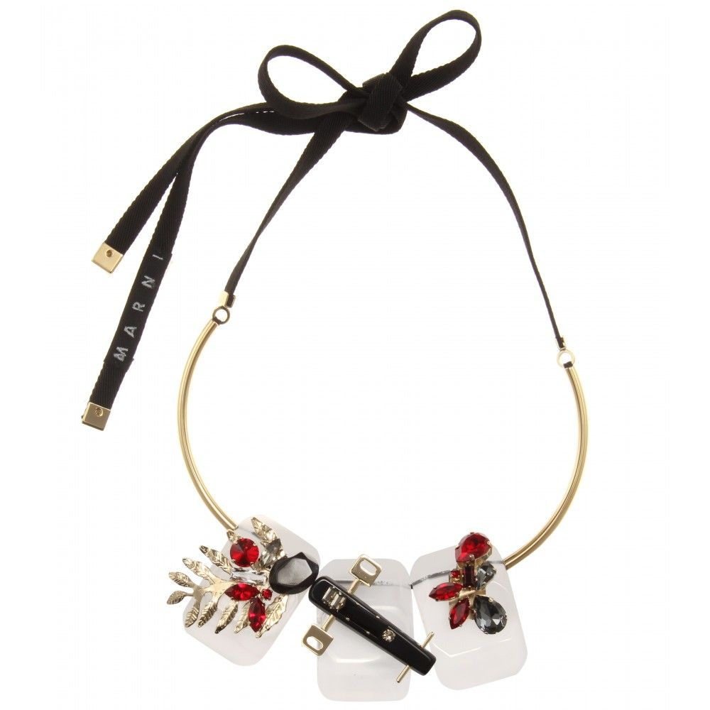 Marni Gold-plated, Horn, Crystal And Suede Necklace - Red