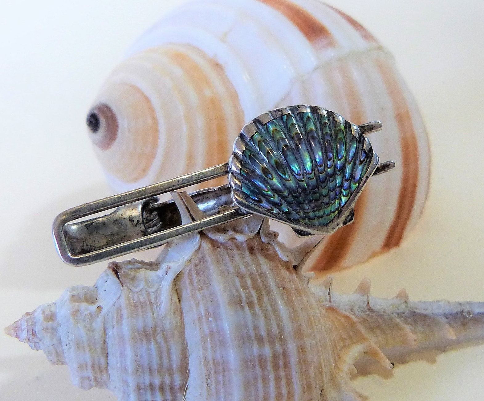 925 Sterling Silver Antique Real Abalone Shell and Pearl Tie Clip