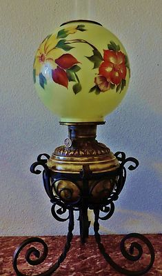 Antique oil lamp brass wrought iron globe glass shade 1800s original antique oil lamp brass wrought iron globe glass shade 1800s original mozeypictures Choice Image