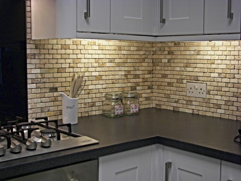 beige granite shower wall panel combined with glass mosaic subway - Kitchen Wall Tile Design Ideas