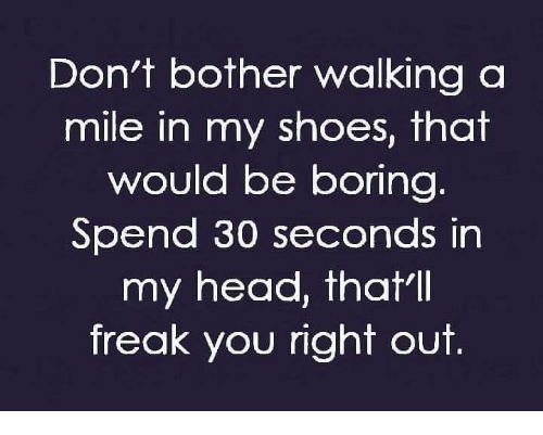 Don't Bother Walking a Mile in My Shoes That Would Be Boring Spend 30 Seconds in My Head Thatll Freak You Right Out | Head Meme on ME.ME