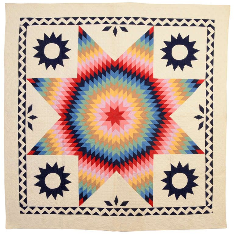 Lone Star Quilt with ZigZag Border   1stdibs.com