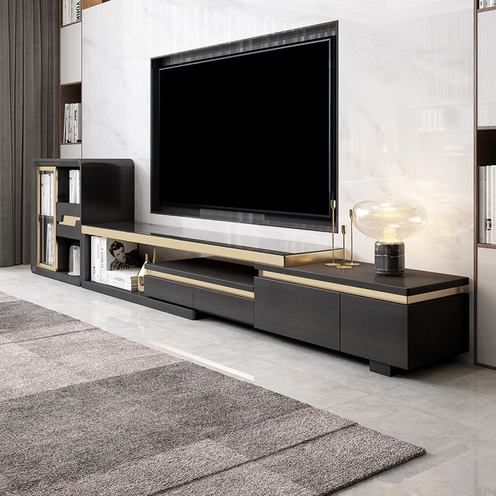 72 8 Black Gold Tv Console With Drawers Doors Extend Up To 98 Black Tempered Glass In 2021 Tv Console Condo Living Room Tv Room Design