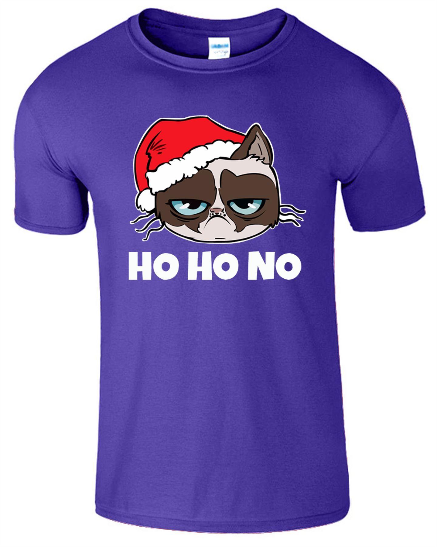 GRUMPY SANTA CAT Christmas Mens T shirt Funny Cat Xmas Gift Tee Top T-Shirt