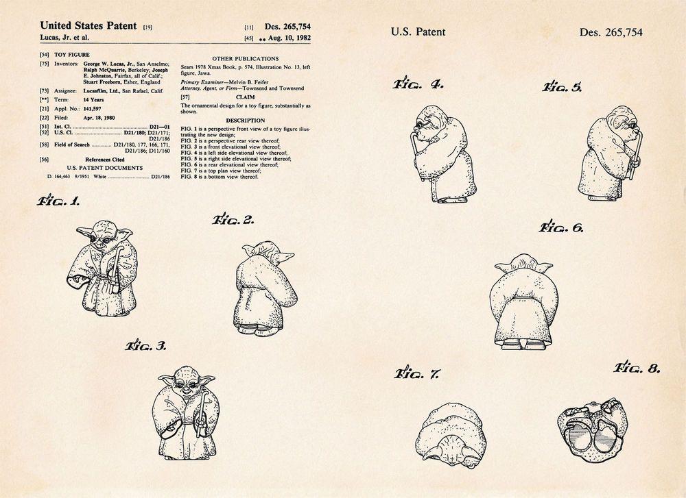 Yoda Star Wars Wall Art Decor Gift Ideas Patent Art Print Poster