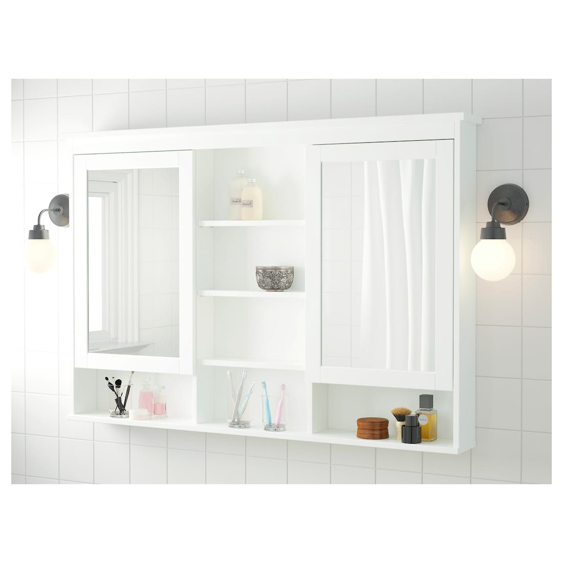 Hemnes Mirror Cabinet With 2 Doors White 55 1 8x38 5 8 Ikea In 2020 Ikea Hemnes Mirror Mirror Cabinets Bathroom Decor