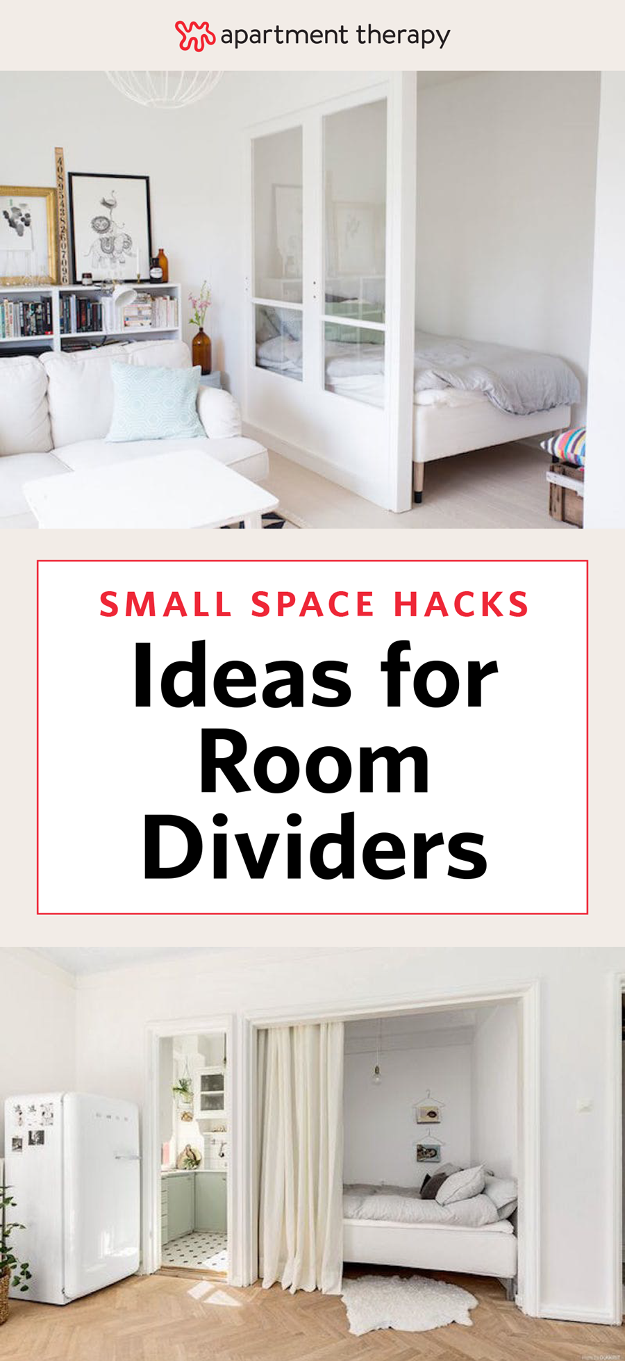 """The challenge: Create a """"bedroom"""" (well, at least a bed nook) in an open-layout studio apartment. Our solution: Choose visual dividers that separate the space, but that don't block sunlight or cut up the square footage of an already tiny home. Presto—your single room will suddenly feel like two (or more.) Here are 11 simple and smart ideas to inspire small-space dwellers:"""