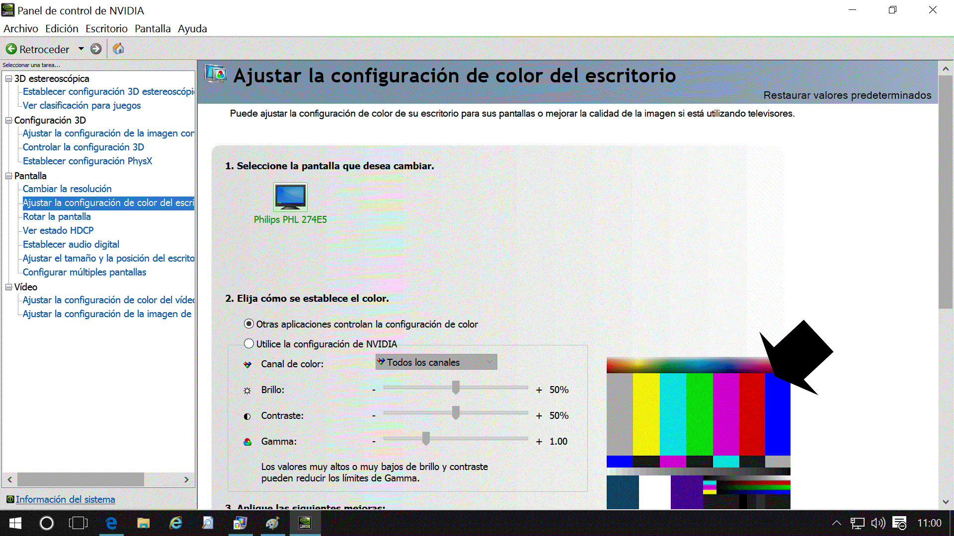 Ajustar la configuración del color de Windows