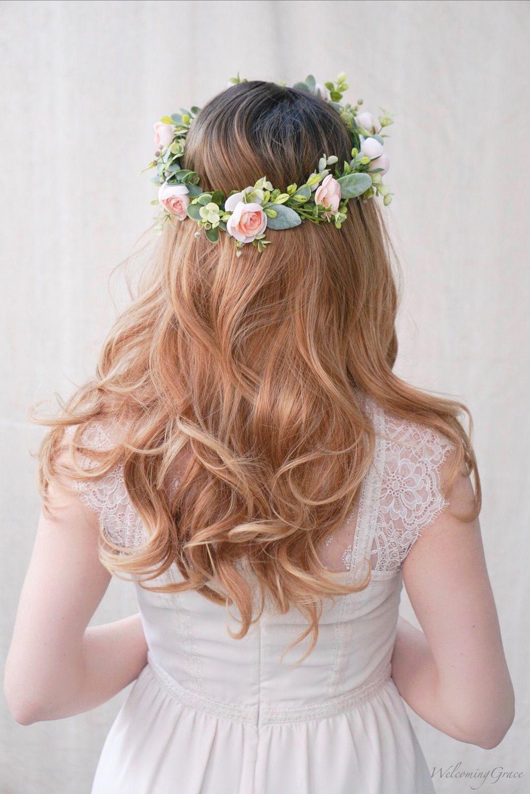 Blush Ranunculus Wild Greenery Bridal Crown Flowers Flowercrown Weddinghairstyles Weddinginspiration Weddi Bridal Crown Bridal Flower Crown Floral Crown