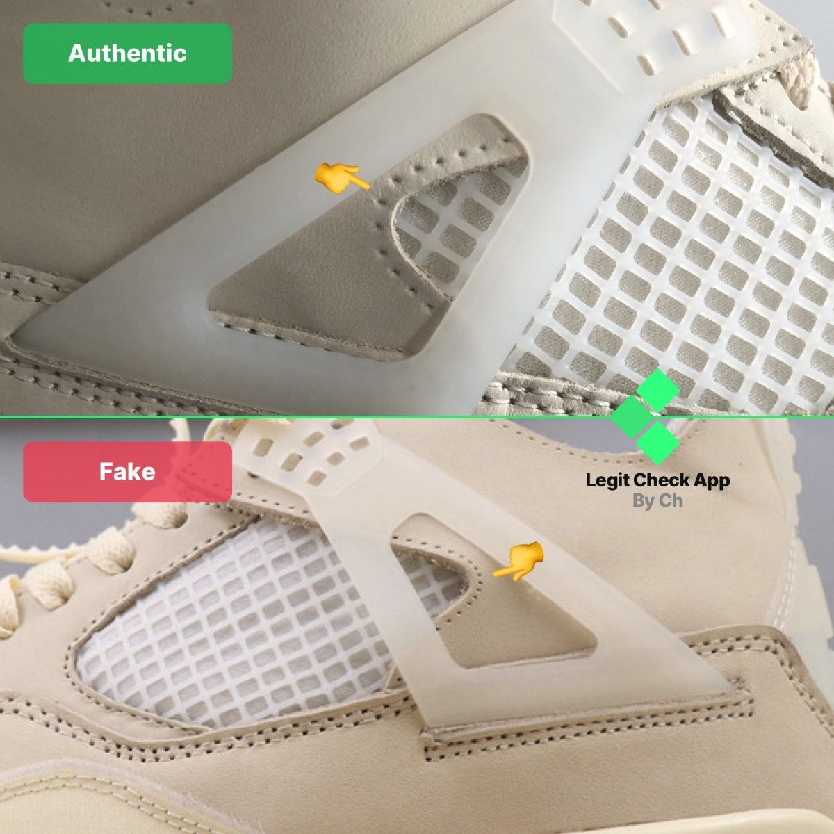 Step 9: Real vs fake Off-White AJ4 Sail WMNS cross-stitching ...