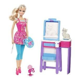 Barbie I Can Be Art Teacher Doll Playset Barbie doll really paints with action lever in back