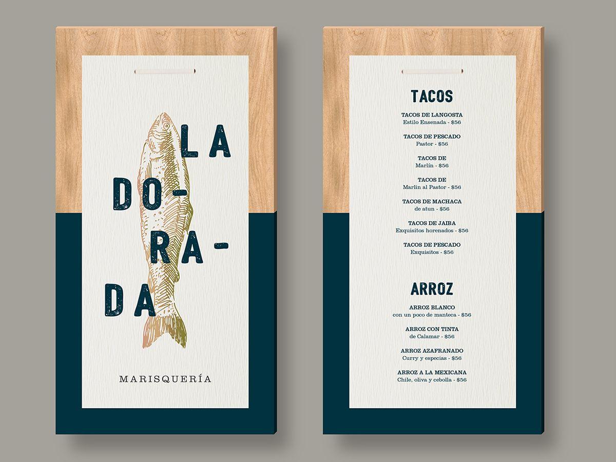 la dorada on behance menu design mounted on wood