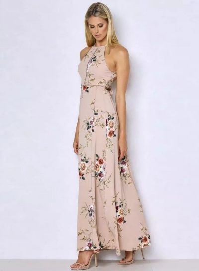 a8bf16d7382d Sleeveless Polyester Halter Neck Floral Print Maxi Day Going Out Dress  NOVASHE.com