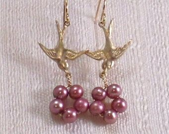 Birds Nest Earrings with Pink Freshwater Pearls