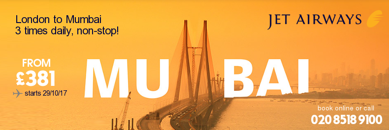 London to Mumbai. 3Times daily Non-Stop! | Jet airways. Non stop. Airline flights